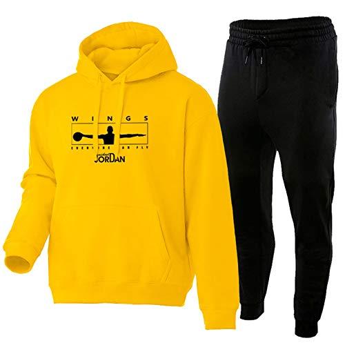 Jordan - Conjunto de sudadera con capucha y pantalones deportivos de 2 piezas, ropa de deporte para aficionados a la moda, cálida y cómoda, multicolor opcional, amarillo y XXL