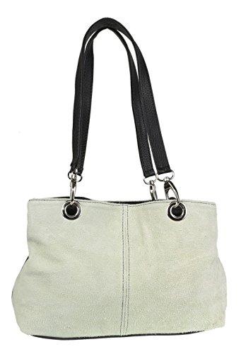 Girly Handbags Italienische Wildleder-Umhängetasche (Weiß)