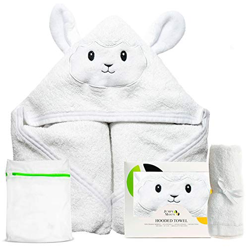 Jumpy Moo's Bio Baby Badetuch | 100% Bambus, Bonus Waschlappen & Wäschesack | Neugeborene, Säuglinge & Kleinkinder (Lamm)