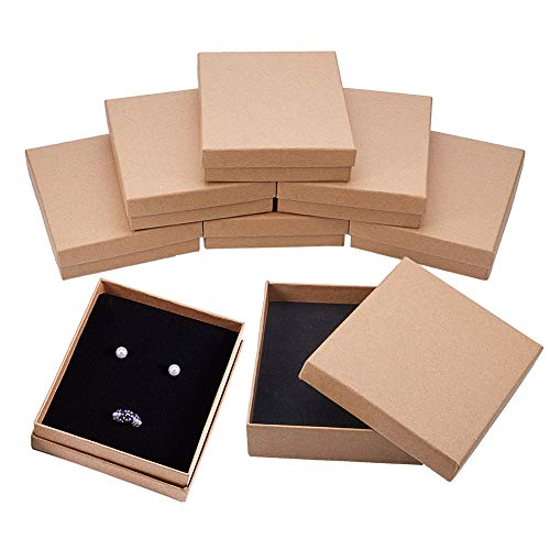 BENECREAT 8 Pack Halskette Ring Box 13x11x3cm Kraft Brown Rechteck Karton Schmuckschatullen Große Geschenkbox für Hochzeit Party