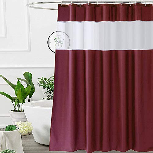 UFRIDAY Half Size 36x72 inch Elegant Stall Polyester Fabric Shower Curtain for Home and Hotel, Red Burgundy