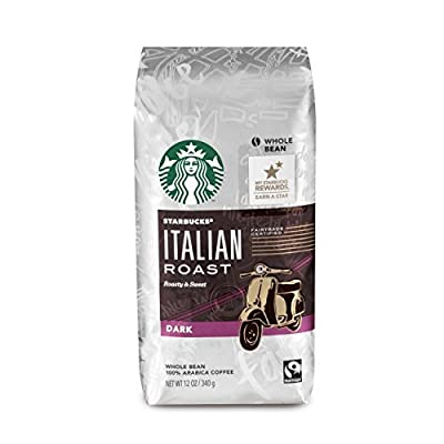 Starbucks Italian Roast Dark Roast Whole Bean Coffee, 12-Ounce Bag (Pack of 2)
