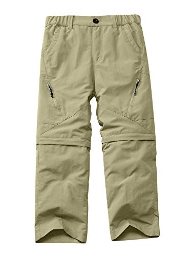 Kids Boys Hiking Pants Convertible Youth Girls Quick Dry Lightweight Outdoor Zip Off Fishing Camping Work Cargo Trousers #9035 Khaki-XL