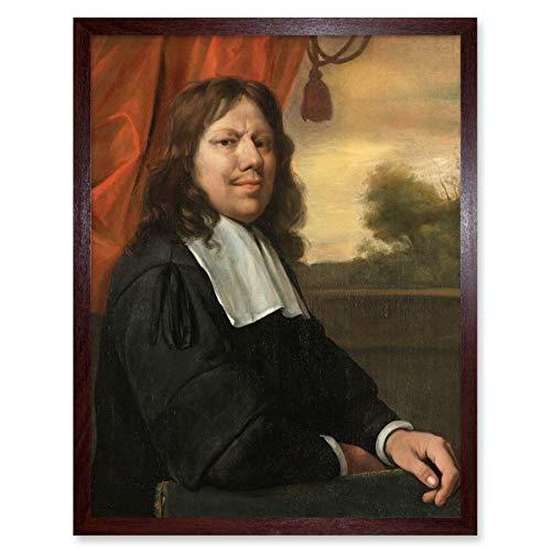Jan Steen Self-Portrait Dutch Painting Wall Art Print Framed 12x16 Portret Nederlands schilderij muur
