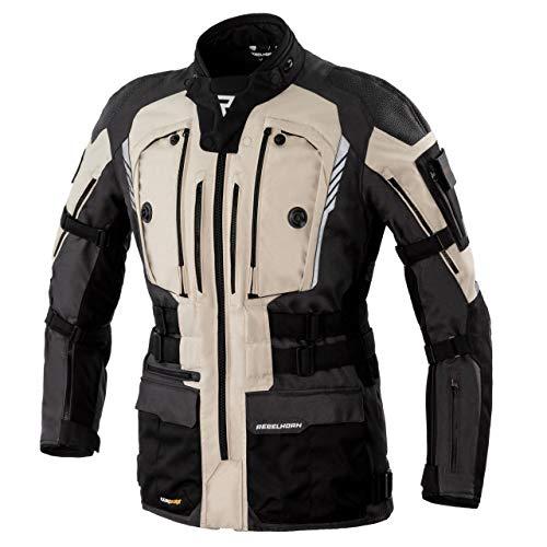 Rebelhorn Chaqueta de moto de tres capas Membrana Sympatex transpirable e impermeable, chaqueta softshell interior, protectores SASTEC Patrol Black/Sand/Grey