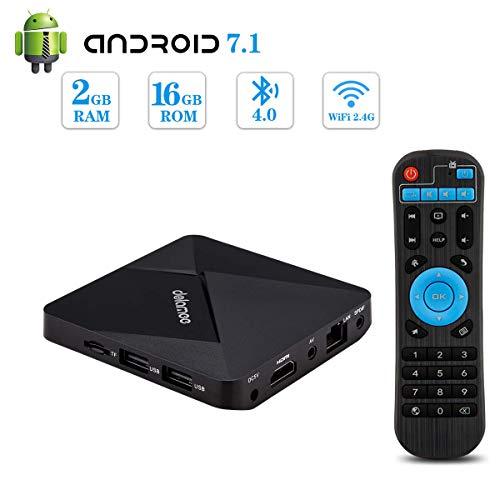 Android 7.1 TV Box,Dolamee 2GB RAM 16GB ROM Mini TV Box Amlogic S905W Quad-Core 64Bit Support 4K Ultra HD/ 3D/ H.265/2.4GHz WiFi/ BT4.0 Media Player