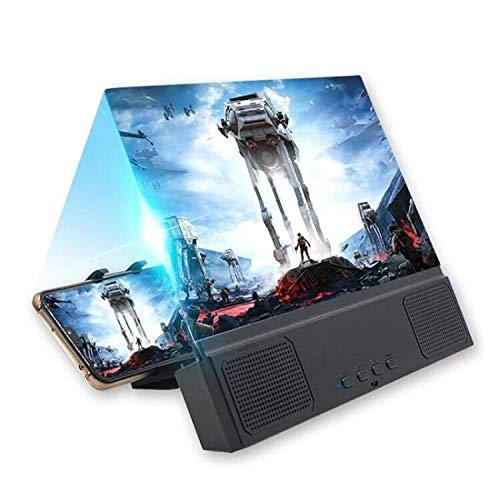 HLX Lente d Ingrandimento dello Schermo con Altoparlante per Smartphone,12 Pollici 3D HD Schermo del Proiettore Lente d Ingrandimento con Altoparlante Bluetooth per Film,Video e Giochi