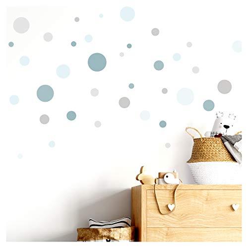 Little Deco Wandaufkleber 86 Punkte Kinderzimmer Mädchen Kreise Junge I Mint grau I Wandtattoo Klebepunkte Wandsticker Set Dots bunt selbstklebend DL387