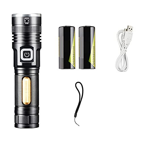 YYHJ Linterna LED, Linterna Recargable con Cargador de batería Recargable Cable USB, súper Brillante con 1500 lúmenes, 3 Modos de Zoom, Linterna a Prueba de Agua para Exteriores e Interiores