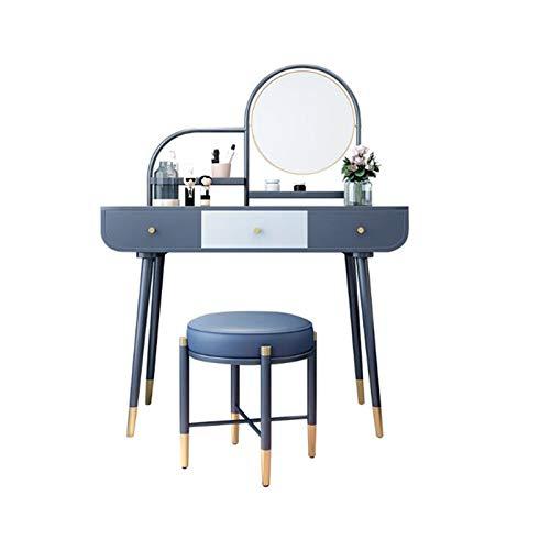 H-ei Nordic Minimalista Camera Coiffeuse Vanity Table Set, Tavolo Trucco con 360 rotativo Specchio e Sgabello, Blu
