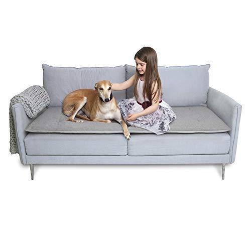 The Lounging Hound Sofaauflage   Luxus wasserdichter Schutz für Möbel   Schützt vor Hunden, Haustieren und Kindern   graue Wolle   3-Sitzer