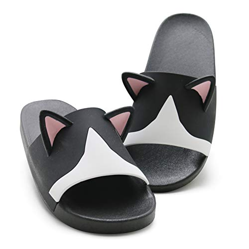 [CAT.YDESIGN] スリッパ ハウススリッパ 室内用スリッパ 室外用スリッパ レディース メンズ 室内履き 静音 超軽量 滑り止め 防臭 旅行 風呂 自宅 可愛い 立っている猫の耳 (260-265, 黒と白)
