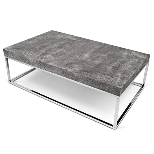 Petra, Table d'appoint ou Table Basse : Le béton et l'acier, sans Le béton - Designer : INÊS MARTINHO - 120 x 75 x 35 cm - Aspect béton Mat, Lisse au Toucher, piétement chromé