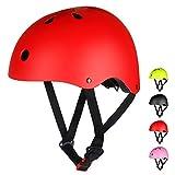 LAMONKE ヘルメット 子供 大人兼用 自転車ヘルメット スポーツヘルメット スケートボード アイススケート サイクリング 通学 スキー バイク 保護用ヘルメット 軽量 通気性 サイズ調整可能 子供ヘルメット 幼児 小学生 (M(54~58cm), レッド)