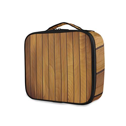 SUGARHE Impression de Bois Vieilli de Planche de Bois Brun,Sac cosmétique Multifonctionnel La beauté