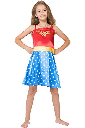DC Comics Little Girls  Wonder Woman Costume Pajama Nightgown, Blue, 10 12