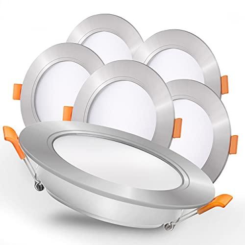 Luxari Foco empotrable LED 230V plata - Focos empotrables LED radiantes [Juego de 6 9W] - Baño LED Spot [3000K blanco cálido] - Foco de techo con conector - IP54