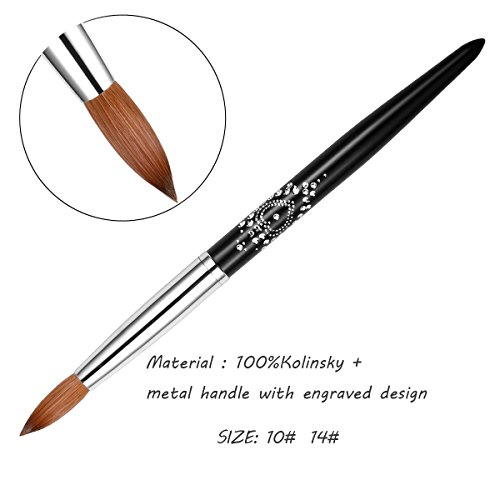 EsungEsung 100% kolinsky cepillo de uñas acrílico tamaño 10, tamaño 14, con mango de metal grabado, venta directa de fábrica, 14, 1 uds. por paquete, 1.00[set de ] ✅