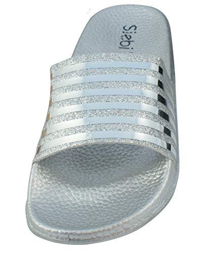 Siebi's Pisa Badeschuhe Damen modische Fußbett-Pantolette: Größe: 40 EU | Farbe: Silber