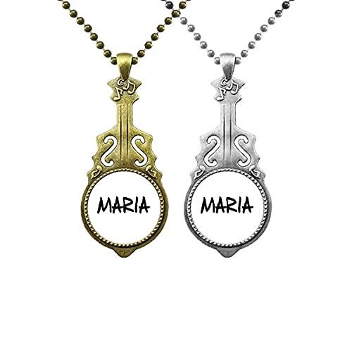 Besondere Handschrift Englisch Name MARIA Liebhaber Musik Gitarre Anhänger Schmuck Halskette Anhänger
