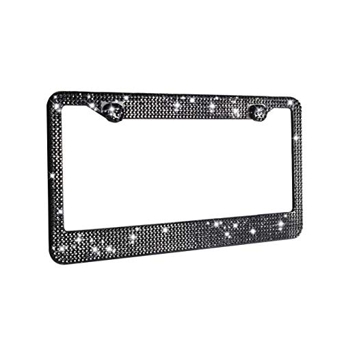 H C Hippo Creation 1 Pack Handcrafted Black Crystal Premium Stainless Steel Bling License Plate Frame