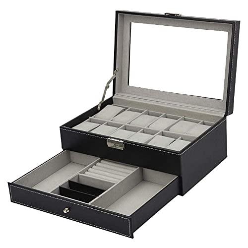 LGR Caja de joyería Caja de Reloj Caja de Almacenamiento Caja de Almacenamiento de joyería Cubierta de Vidrio Caja de exhibición de joyería de Cuero PU
