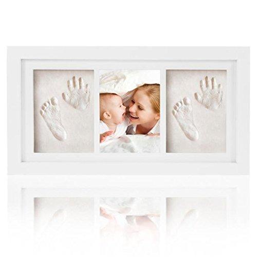 Joyeee Baby Bilderrahmen Abdruckset Handabdruck und Fußabdruck | Hand und Fuß Gipsabdruck Set, für Neugeborene, Baby Dusche oder Taufe Geschenk, Personalisiertes Geschenk #3