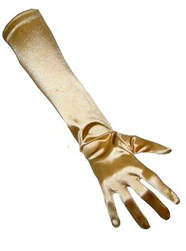 Guantes para mujer elegantes, aprox. 48–52cm de largo, de satén, carnaval, PartyXplosion gold2 Talla única (Talla única)