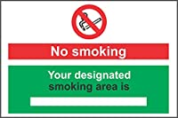 INDIGOS UG–ステッカー–安全–警告–No Smoking Your designated smoking areaは自己粘着ステッカーサイン–200mm x 150mm kp-439Decal for Office、会社、学校、ホテル