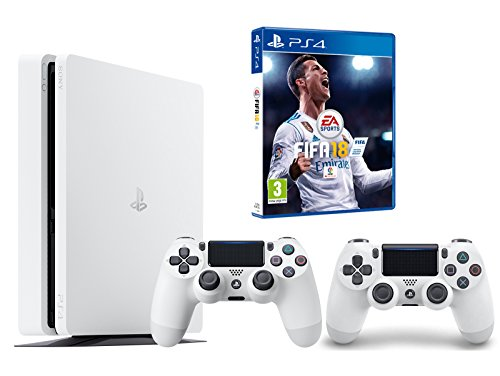 PS4 Slim 500Gb Blanca Playstation 4 Consola - FIFA 18 + 2 Mandos Dualshock 4