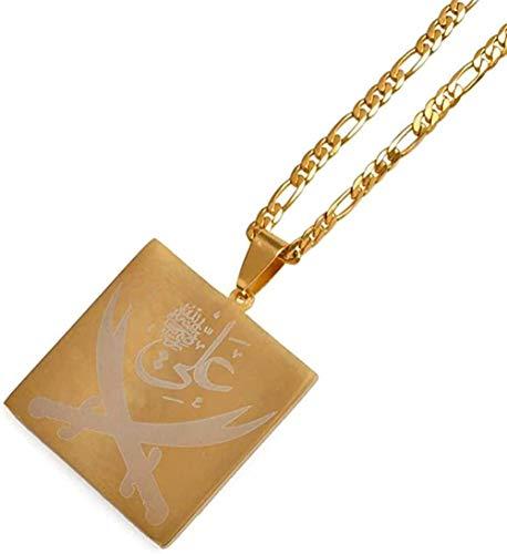 LBBYMX Co.,ltd Halskette Mode Imam Ali Schwert Anhänger Halskette für Frauen/Männer Muslim Islam Islam Allah Schmuck Gold Farbe Arabisches Messer Großhandel 45 cm x 3 mm Kette