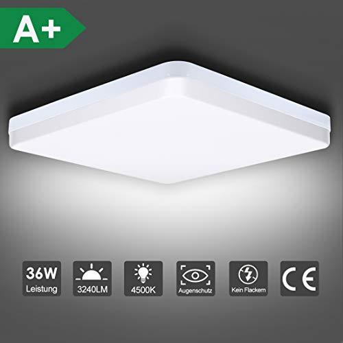 LED Deckenleuchte, SUNZOS 36W 4500K 3240LM Deckenlampe für Wohnzimmer, Schlafzimmer, Küche, Flur, Balkon, Esszimmer, Neutralweiß