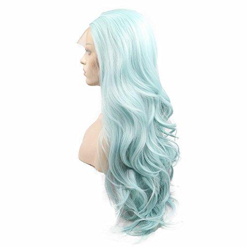 """Drag Queen Wigs Pure Color Synthétique Cheveux Bleu Dentelle Avant Perruques pour Femmes Perruque Naturelle Perruque D'été pour Cosplay Party 24 """""""