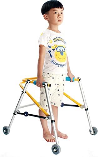 Kids Rollator Walker con ruedas de 3 pulgadas, Ayuda para caminar de altura ajustable plegable para niños / bebé con discapacidad, altura del niño 110-135 cm