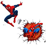 Kibi 2PCS Spiderman 3D Pegatinas Spiderman Pegatinas Decorativas Pared Spiderman Pegatinas de Pared de Spiderman Para Niños Decoración de la Pared Stickers Spiderman