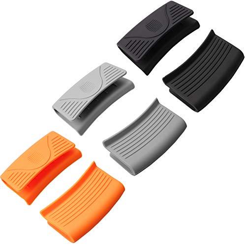 6 soportes de silicona para mango caliente, guantes de cocina de silicona gruesos, soporte para cacerolas, agarraderas de silicona de ayuda para ollas calientes, color negro, naranja y azul claro