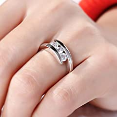 LONAGO 3 Stones 0.83 ct Moissanite Ring for Women 925 Sterling Silver Wedding Halo Promise Ring for Anniversary Engagement (O) #3