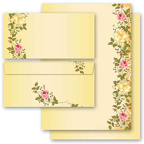 20 pezzi Set completo Fiori & Petali, ROSE VITICCIO 10 fogli di carta da lettera e 10 buste DIN LANG (senza finestra) | Paper-Media