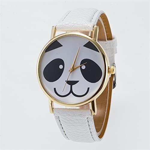 Puparlo 14Color Lindo bebé Panda Oso Cara cómica Reloj de muñeca para Mujer, Chicos Chicos niño Reloj de Pulsera, Regalos de Panda para niñas (Color : White)