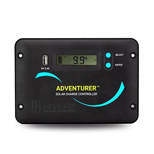 Renogy Adventurer 30A 12V 24V Negative Ground PWM Flush Mount Charge Controller with LCD Display, Compatible with Sealed, Gel, Flooded and Lithium Batteries
