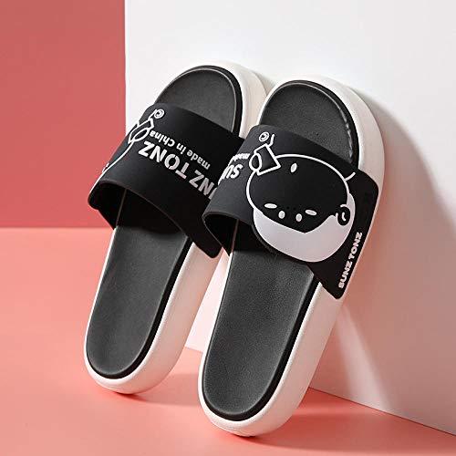 XZDNYDHGX Chanclas Unisex Adulto Zapatillas Negras de Dibujos Animados Bonitos de Verano para Mujer, Zapatos deslizantes con Plataforma de baño Antideslizantes EU 39-40