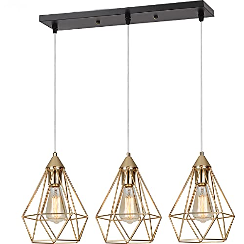 SEEBLEN 3- Light Indoor Island Pendant Light Gold Metal Hanging Ceiling Light Fixtures for Kitchen Kitchen Island Bar Dining Room