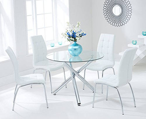 Oak Furniture House Atene 100cm Set di Bianco sedie e Tavolo da Pranzo in Vetro