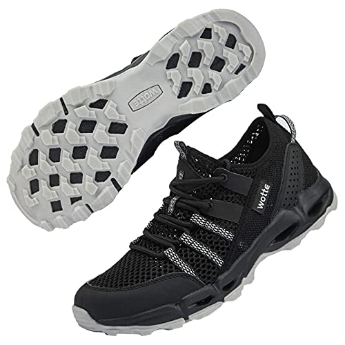 MAINCH Women's Hiking Water Shoes Quick Dry Outdoor Sport Sneakers (Black, Size 9.5)