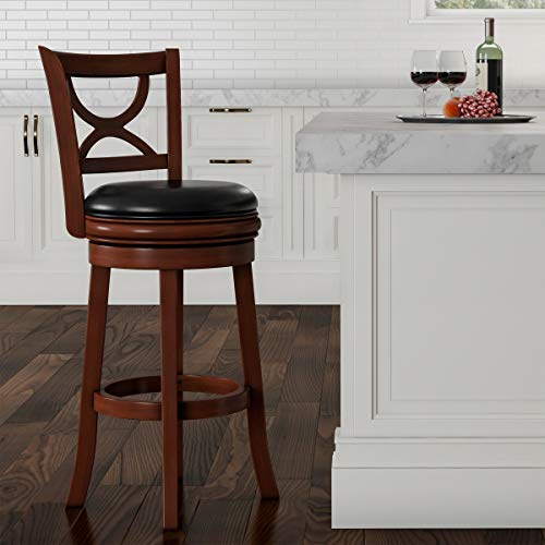 """Lavish Home (Brown Swivel High Back Stool-29"""" Counter or Bar Height-360 Degree Rotating Seat, Faux Leather, Solid Dark Wood Finish & Footrest, 29"""