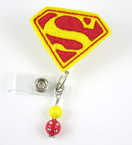 Super Hero Yellow - Nurse Badge Reel - Retractable ID Badge Holder - Nurse Badge - Badge Clip - Badge Reels - Pediatric - RN - Name Badge Holder