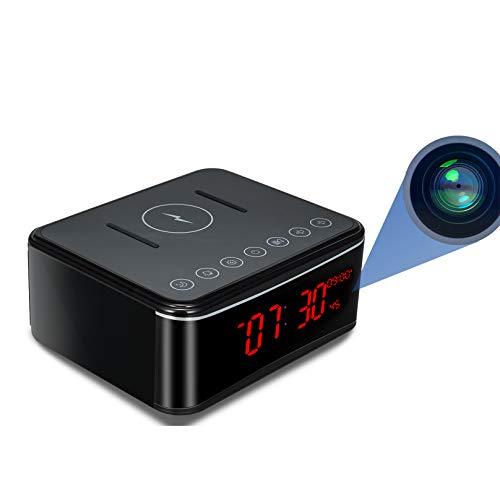 Cámara Espía, 1080P HD WiFi Cámara Oculta Reloj Mini cámara espía, Cámaras de vigilancia Seguridad para el hogar de Oficina Reloj Despertador/Visión Nocturna/Detección de Movimiento/Carga inalámbrica