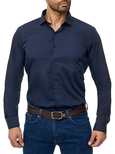 BARBONS Herren-Hemd - Bügelleicht - Tailord-Fit - Langarm-Hemd für Business Freizeit Büro - A - Navy (ÄL72) XXL (45-46)
