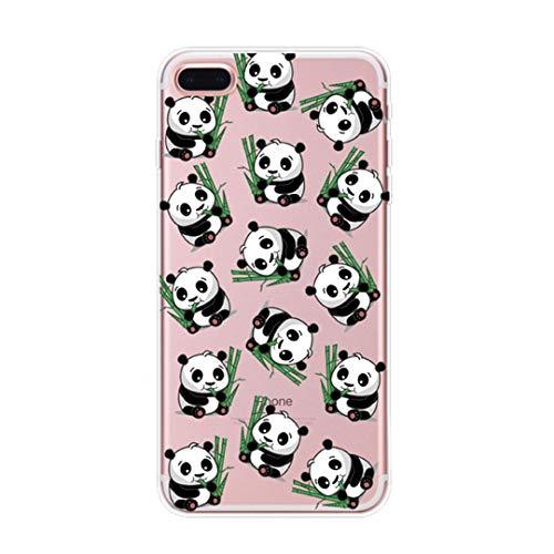 Coque iPhone 7 Plus, Coque iPhone 8 Plus Élégant Panda Housse de Protection Case Transparente Silicone TPU Anti-Rayures Anti Choc Housse Étui pour Apple iPhone 7 iPhone 8 Case (iPhone 7 8 Plus, 9)