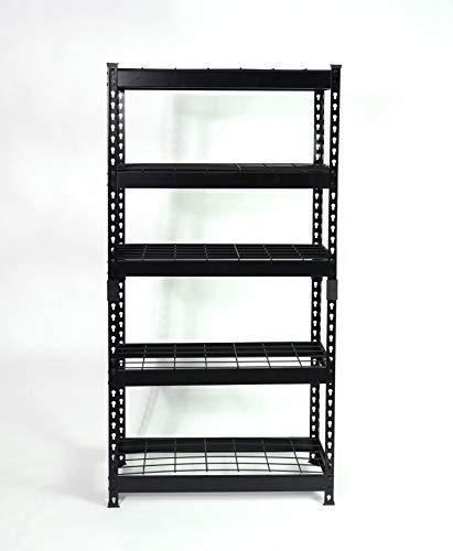 "Juggernaut Storage 36""W x 18""D x 72""H Five-Shelf Steel Shelving Unit, 2500 lb Capacity, Black"